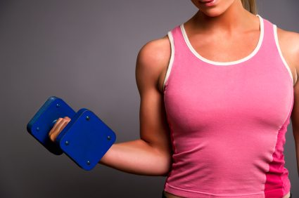 Fitness Woman with Blue Dumbbell