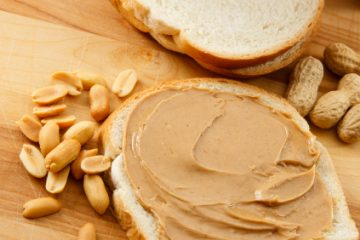 Peanut Butter on Bread and Peanuts