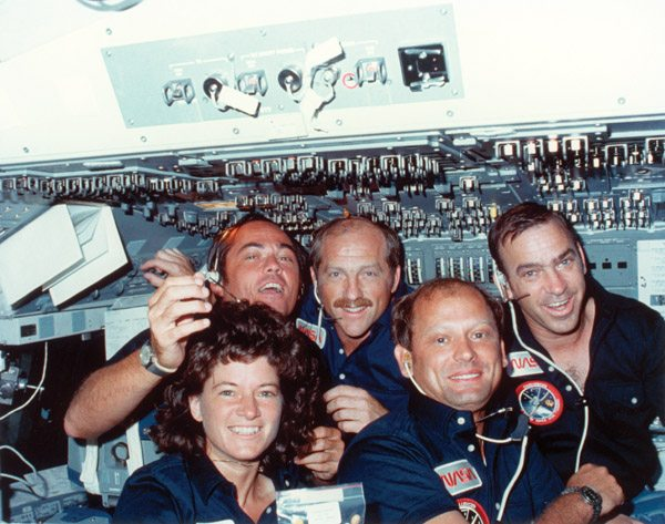 Sally Ride & her Space Shuttle Challenger crewmates. Photo copyright: NASA
