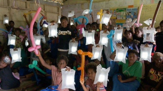 LuminAID lights donated to students in a village in Vanuatu