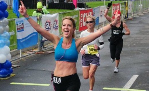 Julie running in one of her 52 marathons