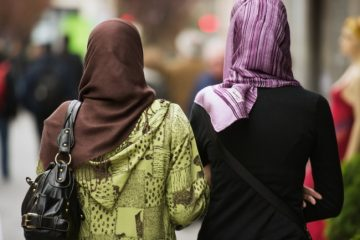 Muslim women walking