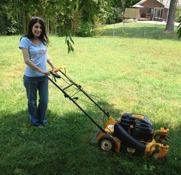 Leah and her lawn mower