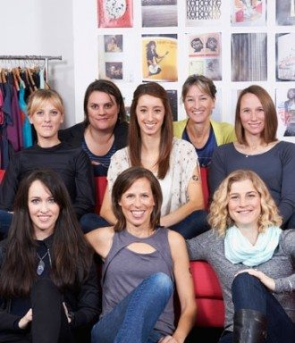 Sally Bergesen (center bottom row) with the women of Oiselle