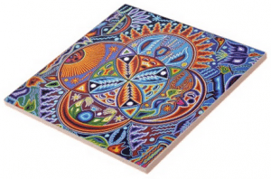 Huichol Oaxaca_Mexican Folk Art Tile