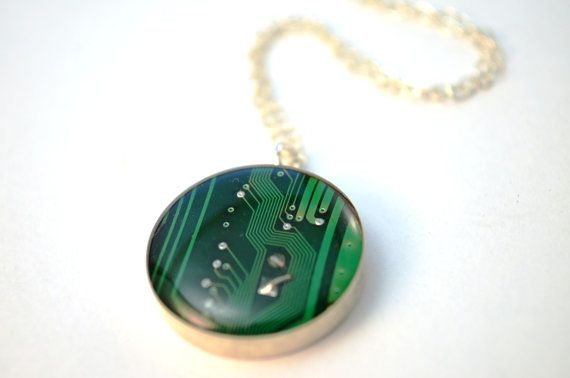 circuit board pendant green