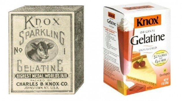 Knox Gelatine 1910 and today