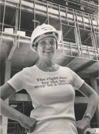"Ruth sporting a t-shirt that says ""The Right Man For A Job May Be A Woman"""