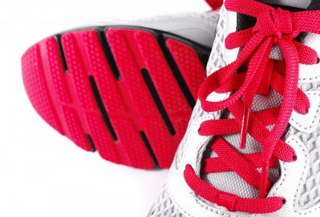 Close up of sports shoes isolated