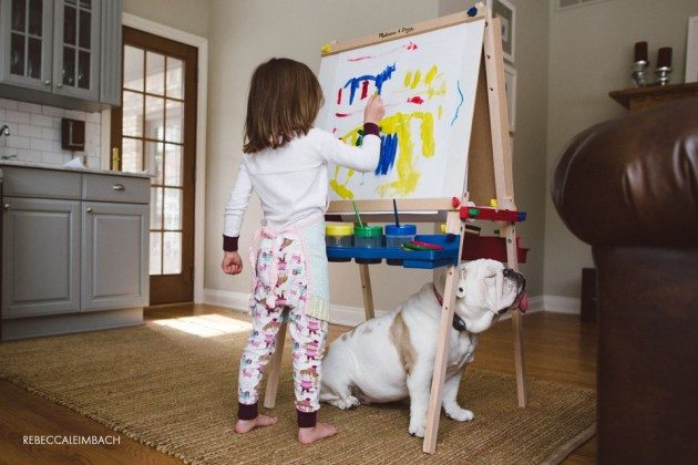 painting_girl and her bulldog