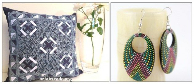 Batik Pattern Pillow handmade in Laos; Dot painted wood earrings handmade in Indonesia