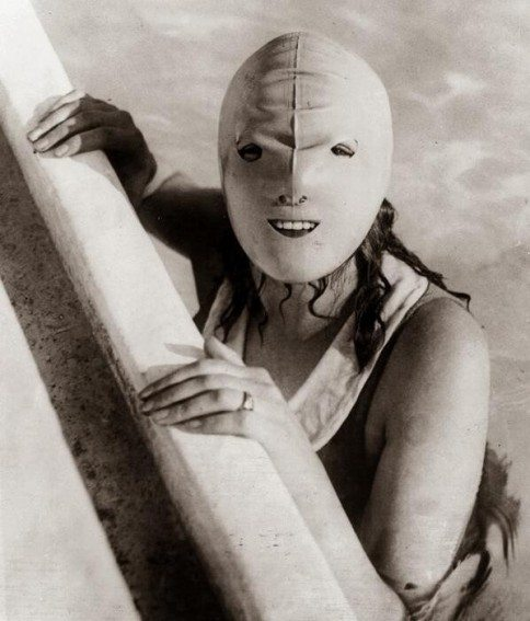 1920s full faced swimming mask designed to protect women from the sun.