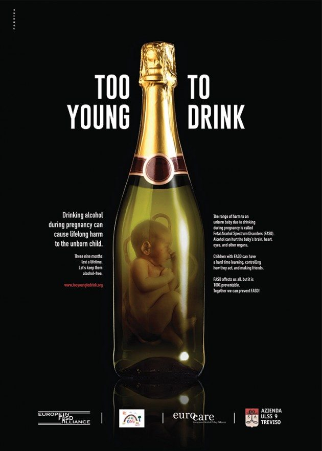 Too young to drink powerful fasd awareness campaign shows baby immersed in alcohol