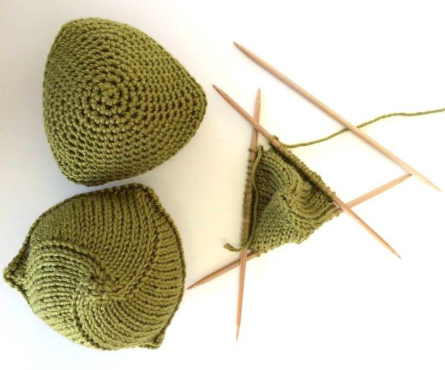 knitted knockers green