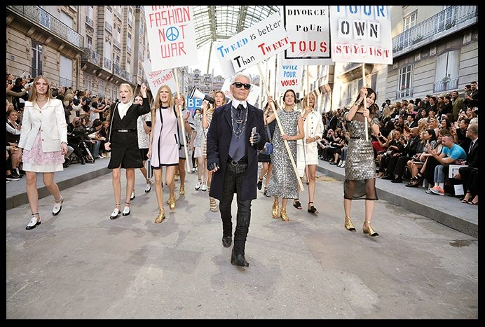 Faux Feminist Rally Takes Center Stage At Chanel Runway Show