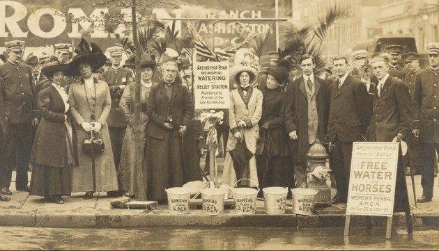 Circa 1911: Caroline Earle White and the women of the WPSPCA (a.k.a. Women's Humane Society) at one of the horse drinking stations they set up.