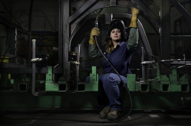 Chancy is a welder at New Flyer bus factory in St. Cloud, Minnesota.