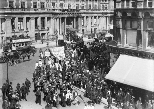 Suffragette procession promoting the Women's Exhibition held at the Prince's Skating Rink, Knightsbridge, May 1909