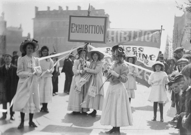 Young Suffragettes advertising the Women's exhibition, 8 May 1909 (