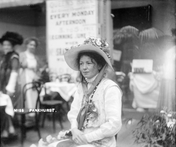 Suffragette Christabel Pankhurst, [daughter of Emmeline] co-founder of the Women's Social and Political Union (WSPU), photographed at The Women's Exhibition, May 1909.