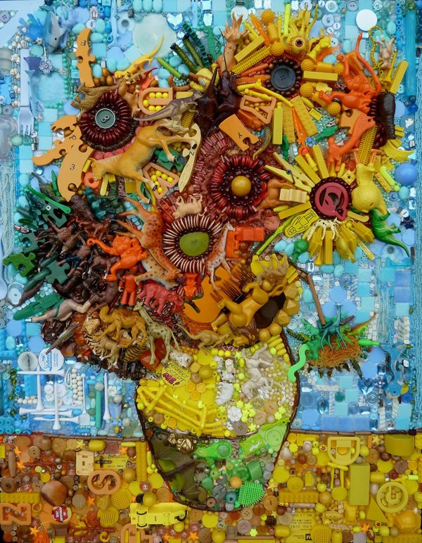 Cindy's-Sunflowers-inspired-by-Van-Gogh-button-art