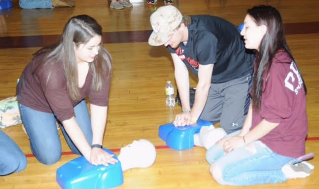 Ashley Dumais at her high school's CPR training event in April