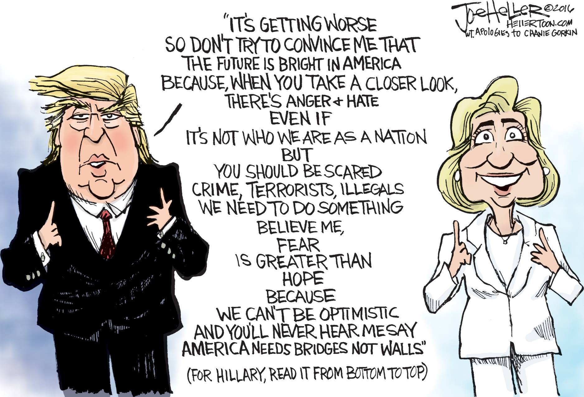 Brilliant Cartoon Sums Up Trump And Clinton Campaigns In 19 Identical Lines, Read In Reverse Orders