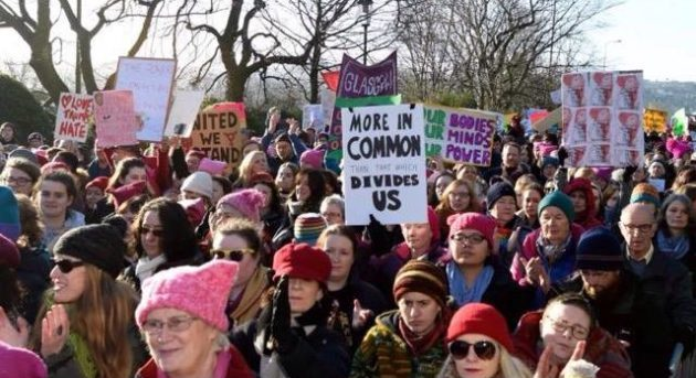 women's march Cerri Mckenzie Edinburgh Scotland