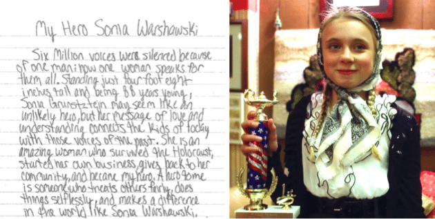My Hero Sonia Warshawski The Heartfelt Essay That Won This Th  Olivia Dressed As A Young Sonia With Her St Place Essay Trophy
