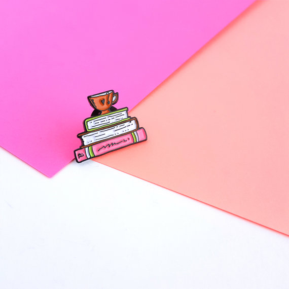 tea and book lover pin